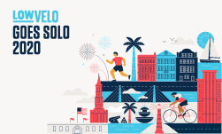 Lowvelo goes solo 2020 illustration with Charleston landmarks including Rainbow Row, Ravenel Bridge and Fort Sumter