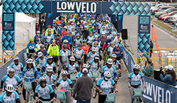 Riders gathering at the Lowvelo starting line.